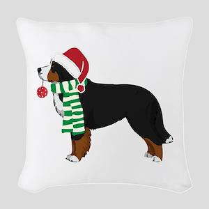 Christmas Bernese Mt Dog Woven Throw Pillow
