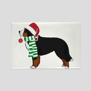 Christmas Bernese Mt Dog Rectangle Magnet