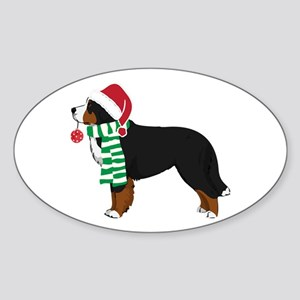 Christmas Bernese Mt Dog Sticker (Oval)