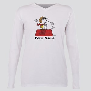Peanuts Flying Ace Perso Plus Size Long Sleeve Tee