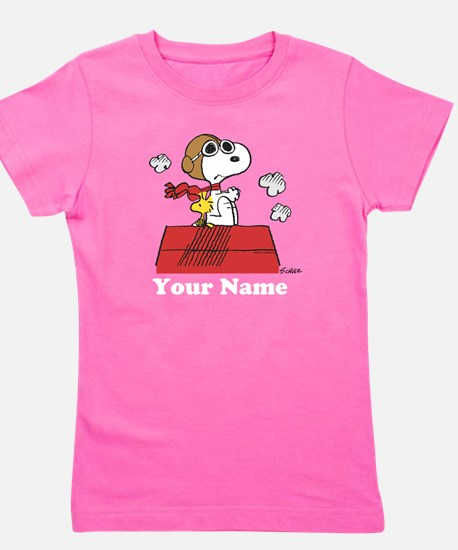 Peanuts Flying Ace Personalized Girl's Tee