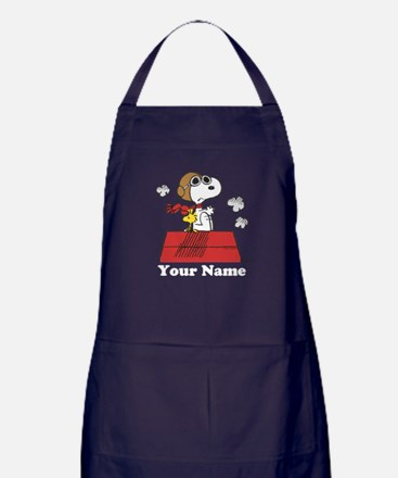 Peanuts Flying Ace Personalized Apron (dark)