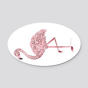 Funky Tribal Flamingo Oval Car Magnet
