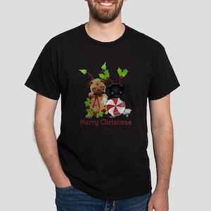 Black and Fawn Christmas Pugs T-Shirt