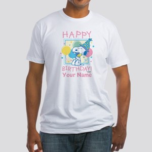 Peanuts Happy Birthday Pink Persona Fitted T-Shirt