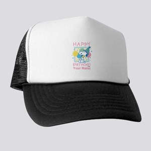 Peanuts Happy Birthday Pink Personaliz Trucker Hat