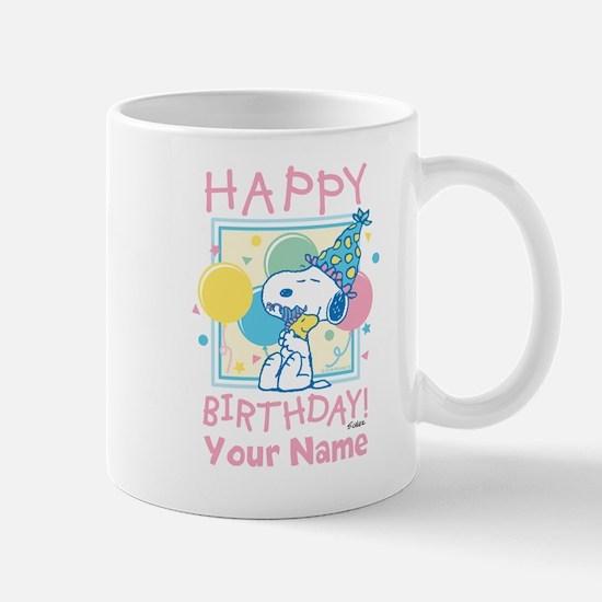 Peanuts Happy Birthday Pink Personalize Mug