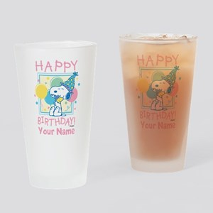 Peanuts Happy Birthday Pink Persona Drinking Glass