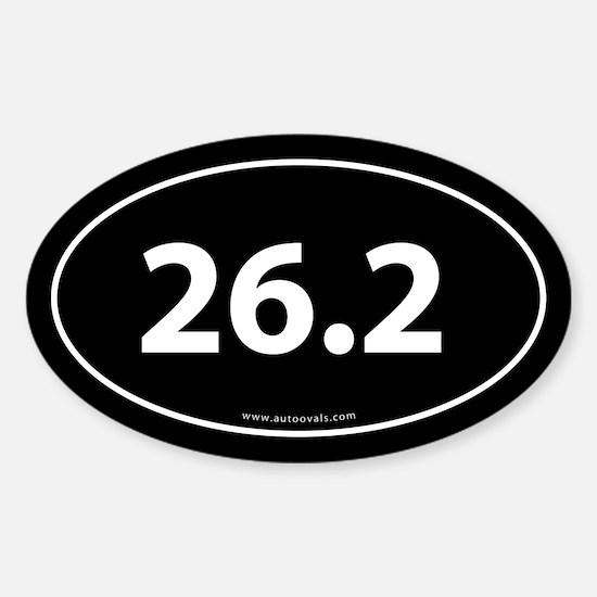 26.2 Marathon Bumper Sticker -Black (Oval)