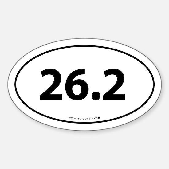 26.2 Marathon Bumper Sticker -White (Oval)