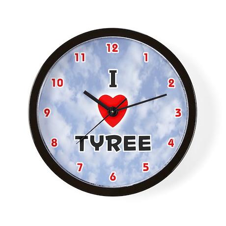 I Love Tyree (Red/Blk) Valentine Wall Clock