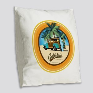 Woodie in California Burlap Throw Pillow