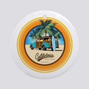 Woodie in California Round Ornament