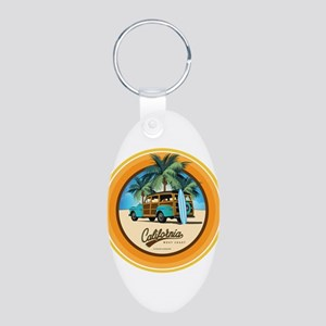 Woodie in California Aluminum Oval Keychain