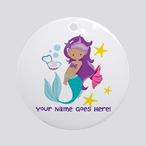 Purple Mermaid Round Ornament