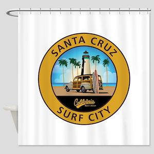 Santa Cruz Surf City Woodie Shower Curtain