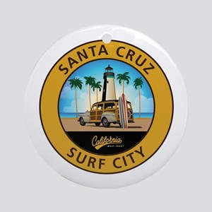 Santa Cruz Surf City Woodie Round Ornament