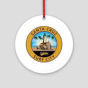 Santa Cruz Surf City Woodie Round Ornament