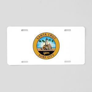 Santa Cruz Surf City Woodie Aluminum License Plate