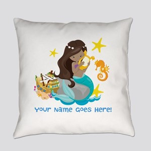 Brunette Mermaid Everyday Pillow
