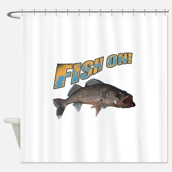 Fish on walleye color Shower Curtain