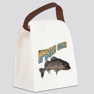 Fish on walleye color Canvas Lunch Bag