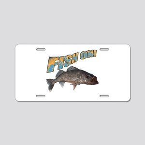Fish on walleye color Aluminum License Plate