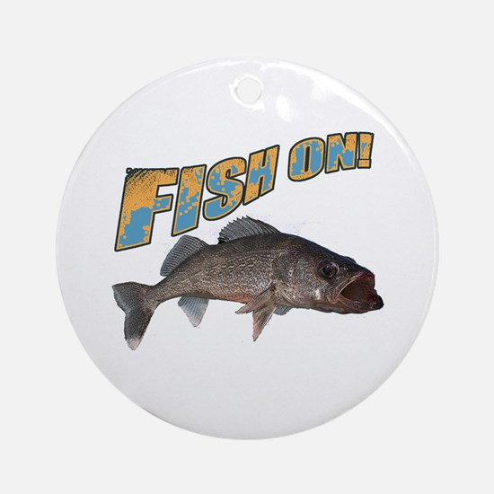 Fish on walleye color Round Ornament