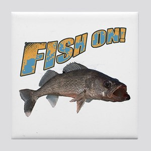 Fish on walleye color Tile Coaster