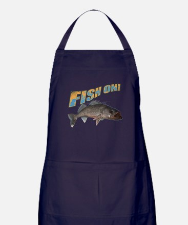 Fish on walleye color Apron (dark)