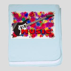 Music Guitar with Rainbow Paint Splat baby blanket