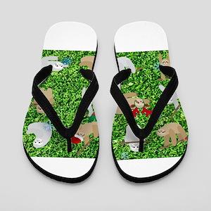xmas sloth Flip Flops