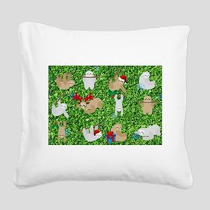 xmas sloth Square Canvas Pillow