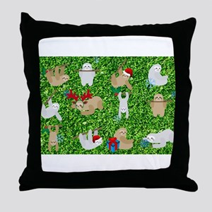 xmas sloth Throw Pillow