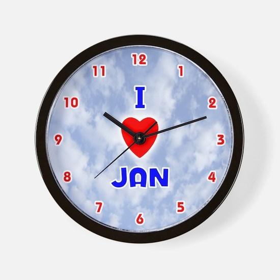 I Love Jan (Red/Bl) Valentine Wall Clock
