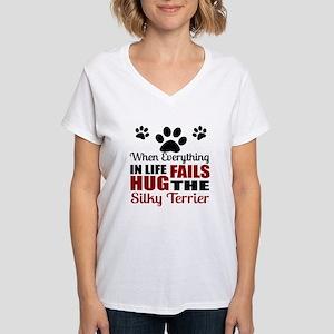 Hug The Silky Terrier Women's V-Neck T-Shirt
