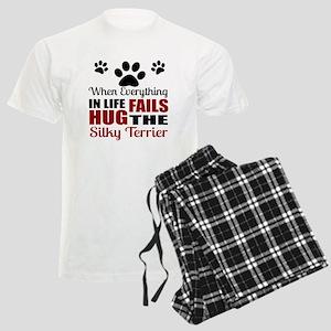 Hug The Silky Terrier Men's Light Pajamas