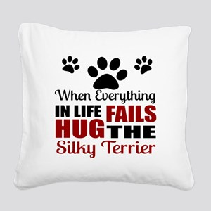 Hug The Silky Terrier Square Canvas Pillow