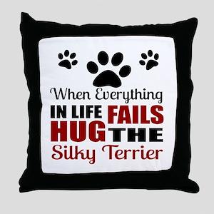 Hug The Silky Terrier Throw Pillow