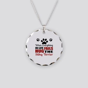 Hug The Silky Terrier Necklace Circle Charm