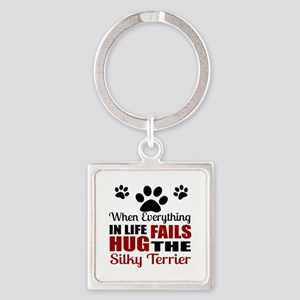 Hug The Silky Terrier Square Keychain