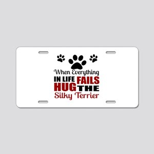 Hug The Silky Terrier Aluminum License Plate