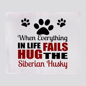Hug The Siberian Husky Throw Blanket