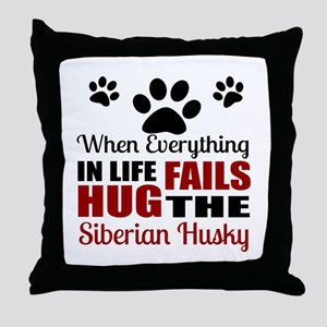 Hug The Siberian Husky Throw Pillow