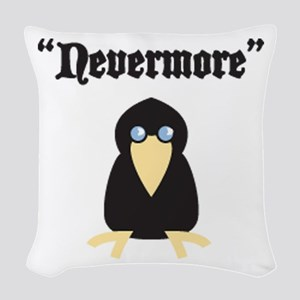 Poe the Crow Woven Throw Pillow