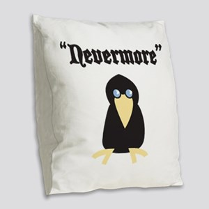 Poe the Crow Burlap Throw Pillow