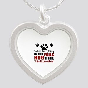 Hug The Rottweiler Silver Heart Necklace
