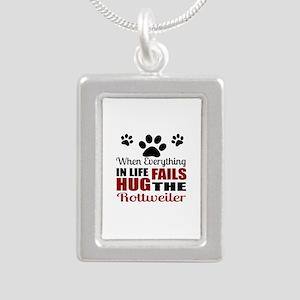 Hug The Rottweiler Silver Portrait Necklace