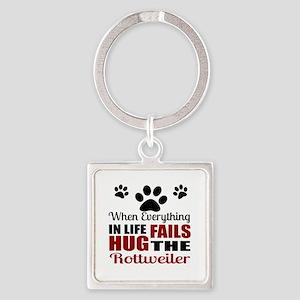 Hug The Rottweiler Square Keychain