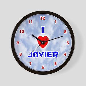 I Love Javier (Red/Bl) Valentine Wall Clock